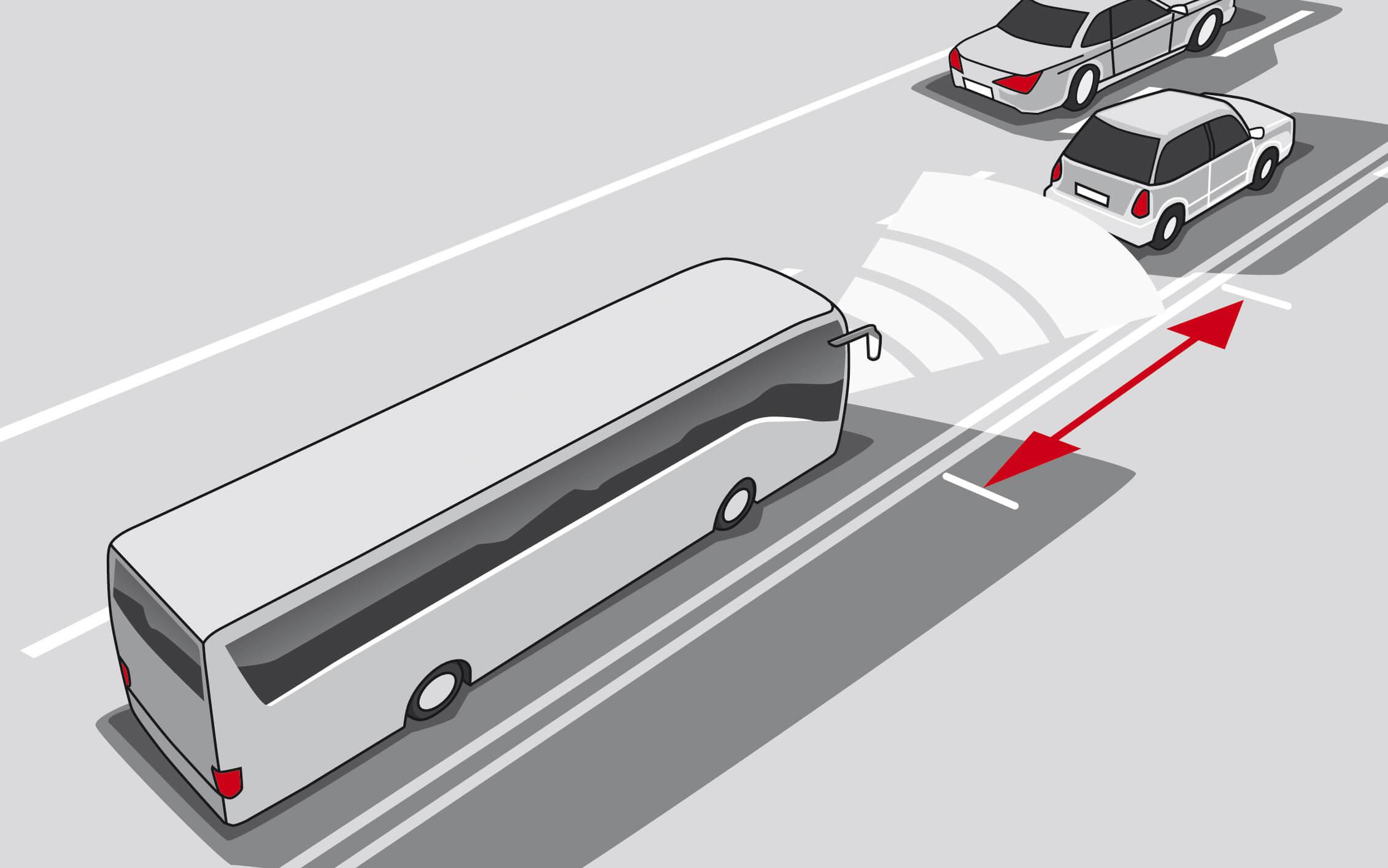 Abstandsregeltempomat - hält einen gleichmäßigen Abstand zum vorausfahrenden Fahrzeug ein.