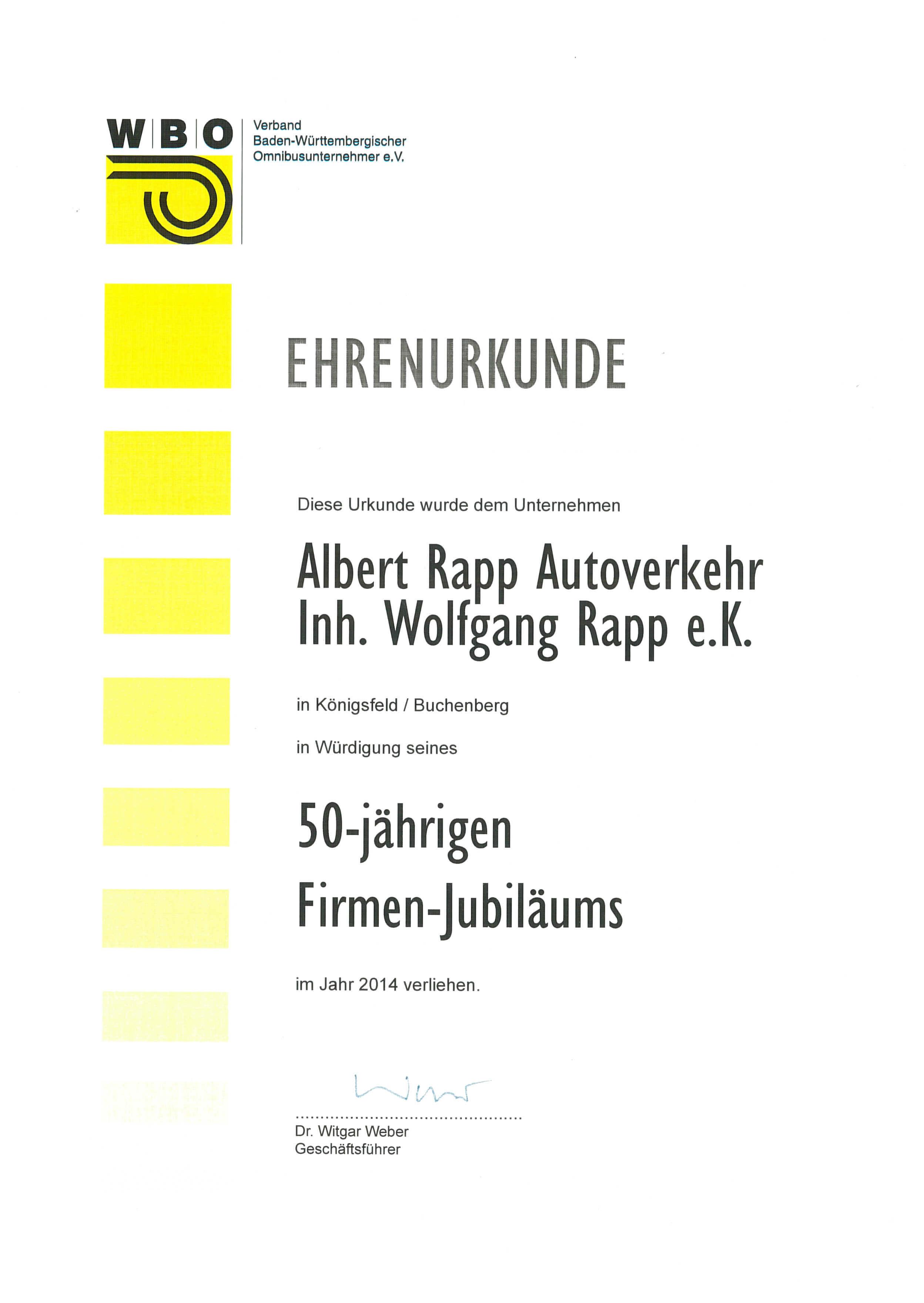 Ehrenurkunde WBO